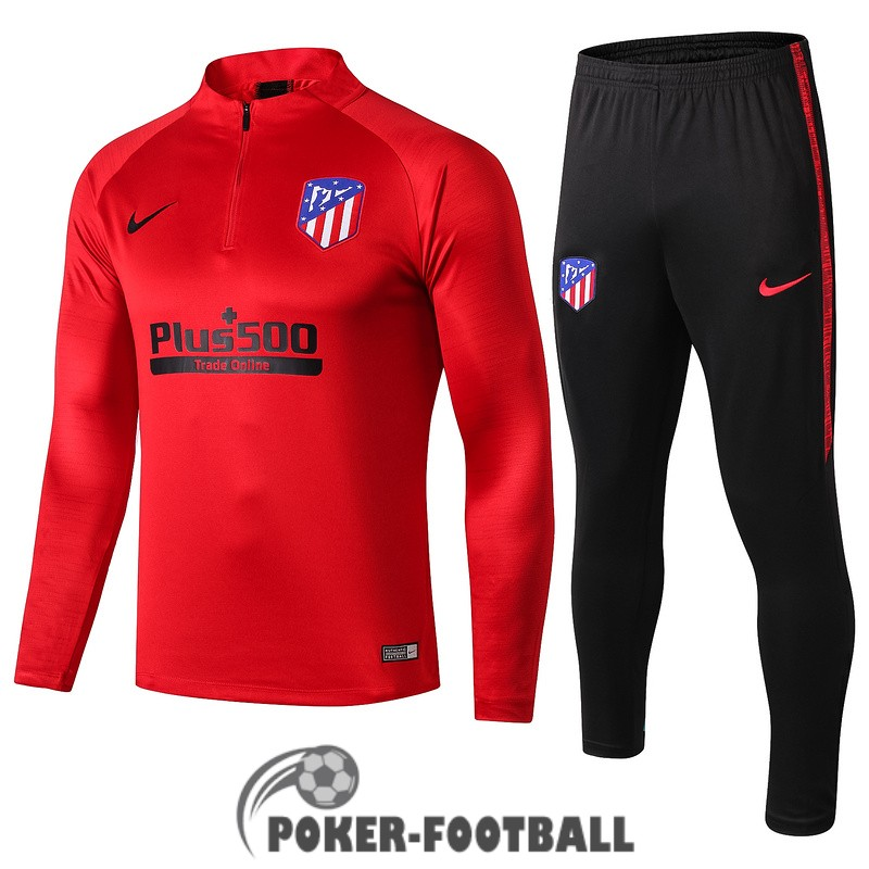 2019-2020 survetement foot atletico madrid fermeture eclair rouge