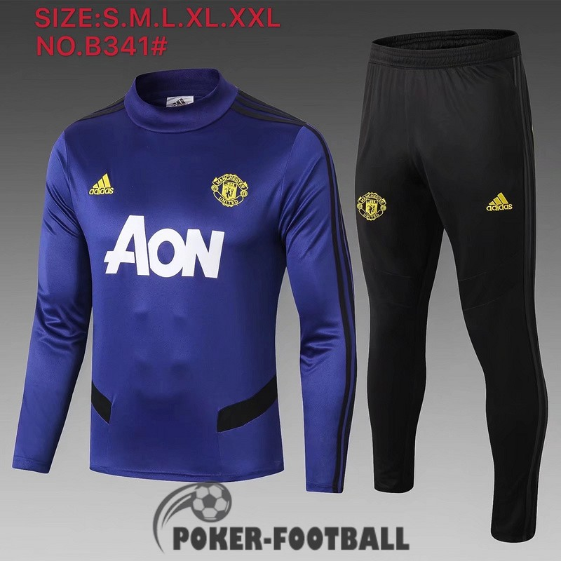 2019-2020 survetement foot manchester united col haut bleu fonce [poker-football-9-15-204]