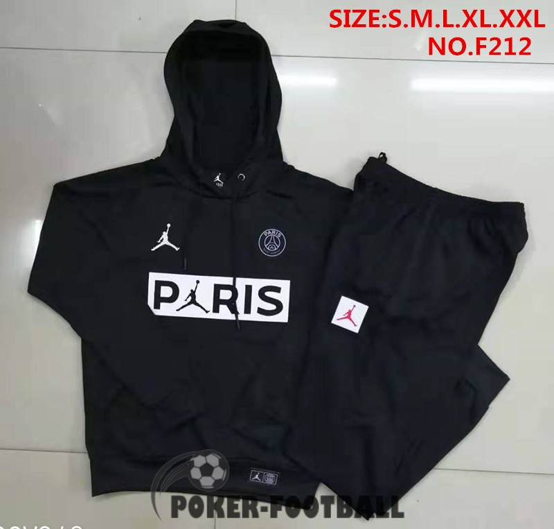 2019-2020 survetement foot psg paris jordan sweat s capuche noir blanc