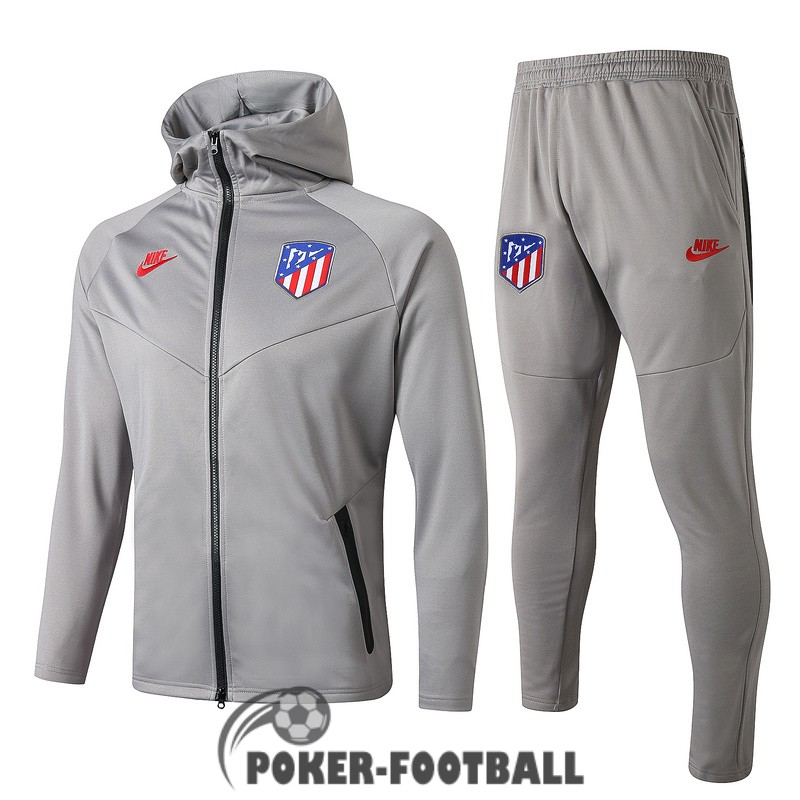 2019-2020 veste atletico madrid sweat s capuche gris clair