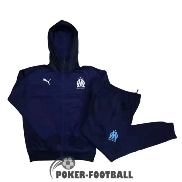 2019-2020 veste marseille sweat s capuche bleu fonce [poker-football-9-30-117]