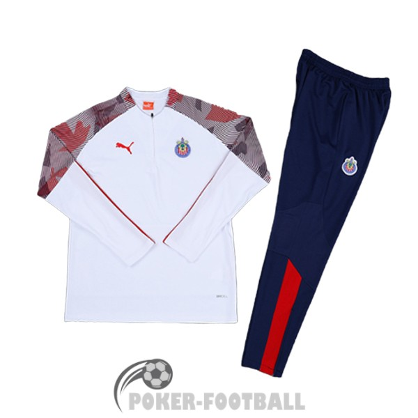 2020-2021 survetement foot chivas de guadalajara fermeture eclair blanc brown rouge