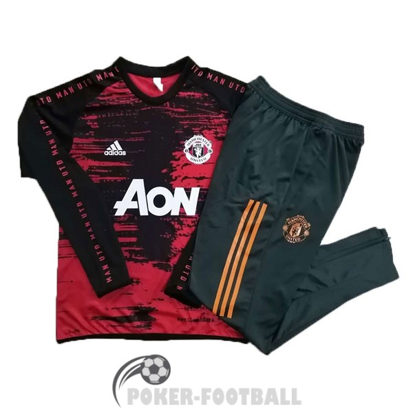 2020-2021 survetement foot manchester united col rond noir rouge