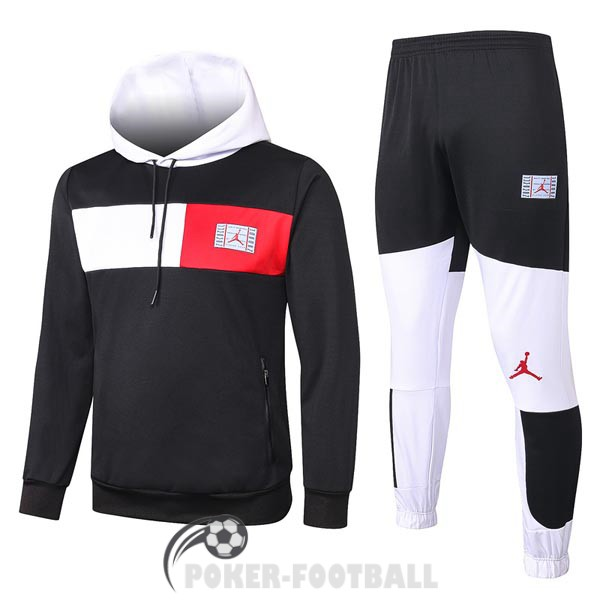 2020-2021 survetement foot psg sweat s capuche jordan noir blanc rouge