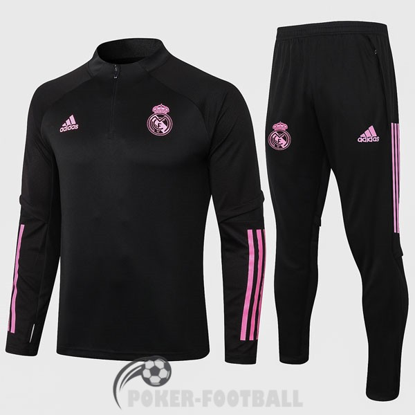 2020-2021 survetement foot real madrid fermeture eclair noir