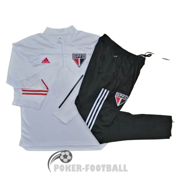 2020-2021 survetement foot sao paulo fermeture eclair blanc [maillot20-3-25-187]