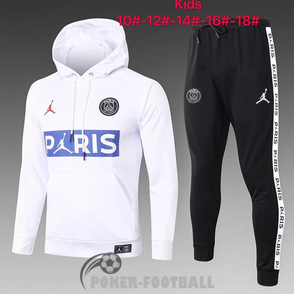 2020-2021 survetement foot sweat s capuche enfants psg paris jordan blanc bleu