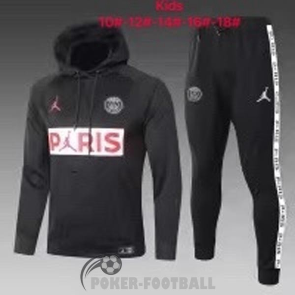 2020-2021 survetement foot sweat s capuche enfants psg paris jordan noir blanc rouge