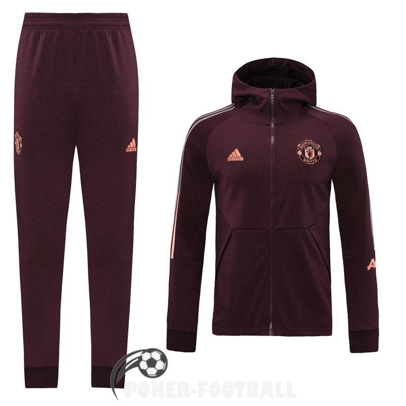 2020-2021 veste manchester united sweat s capuche rouge fonce