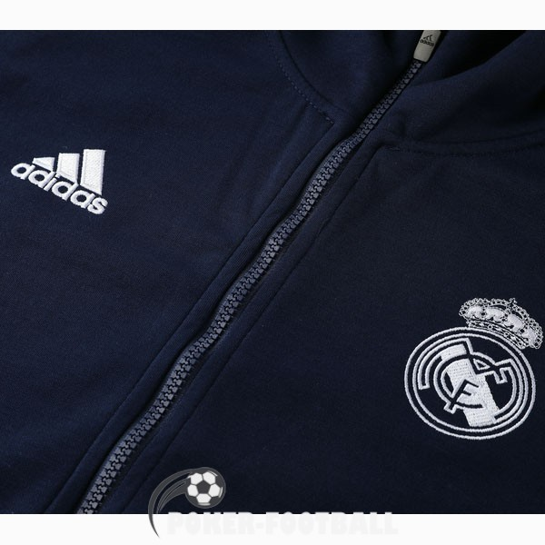 2020-2021 veste real madrid sweat s capuche bleu fonce rose